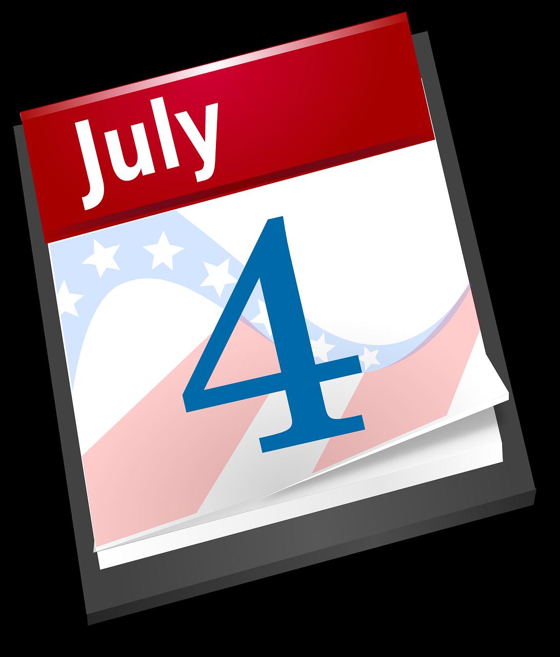 4th July Calendar. Credit: Open Clipart Vectors