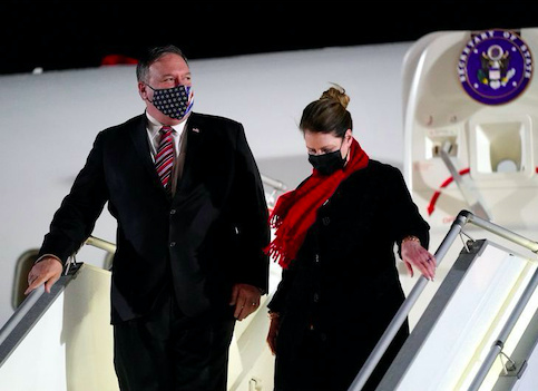 US Secretary Pompeo and his wife Susan step off a plane at Tbilisi International Airport on 17 November 2020. Credit to Reuters