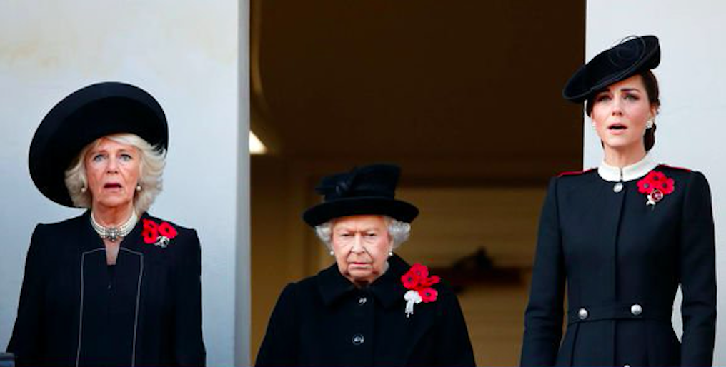 Camilla, the Queen, and Kate on Armistice Day 2019. Credit: The Express/Getty Images