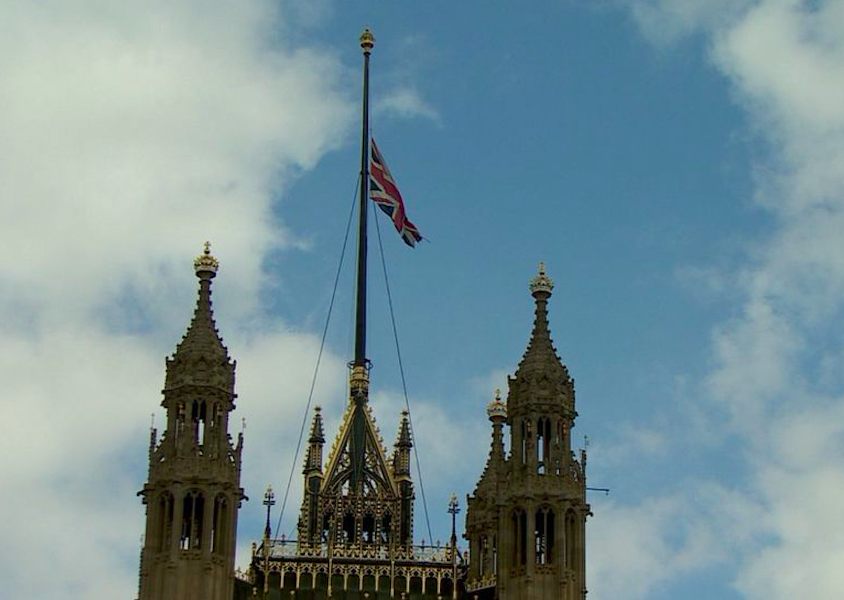 The union jack flying over the Houses of Parliament was lowered to half-mast on Friday as a mark of respect. Credit to BBC News
