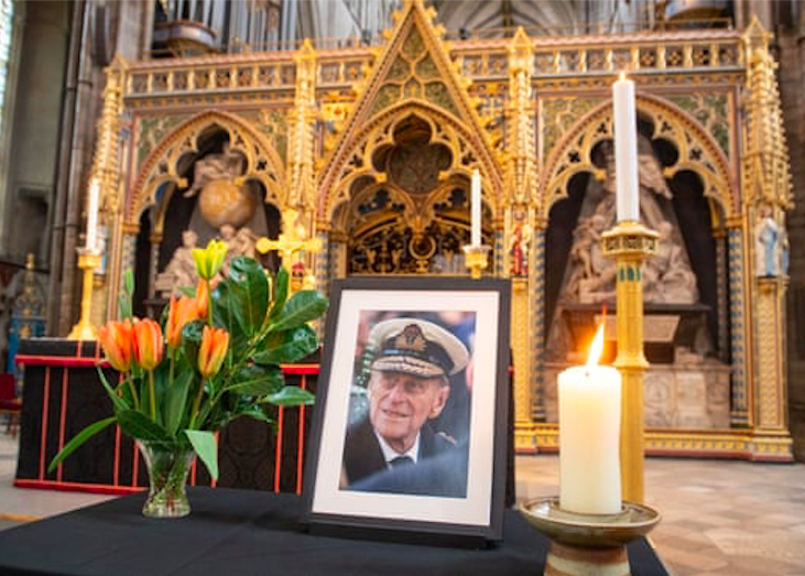 A photograph of the Duke of Edinburgh is displayed at Westminster Abbey, London. Credit to Dominic Lipinski/PA