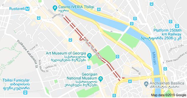 Revaz Tabukashvili Street in Tbilisi centre. Credit: GoogleMaps