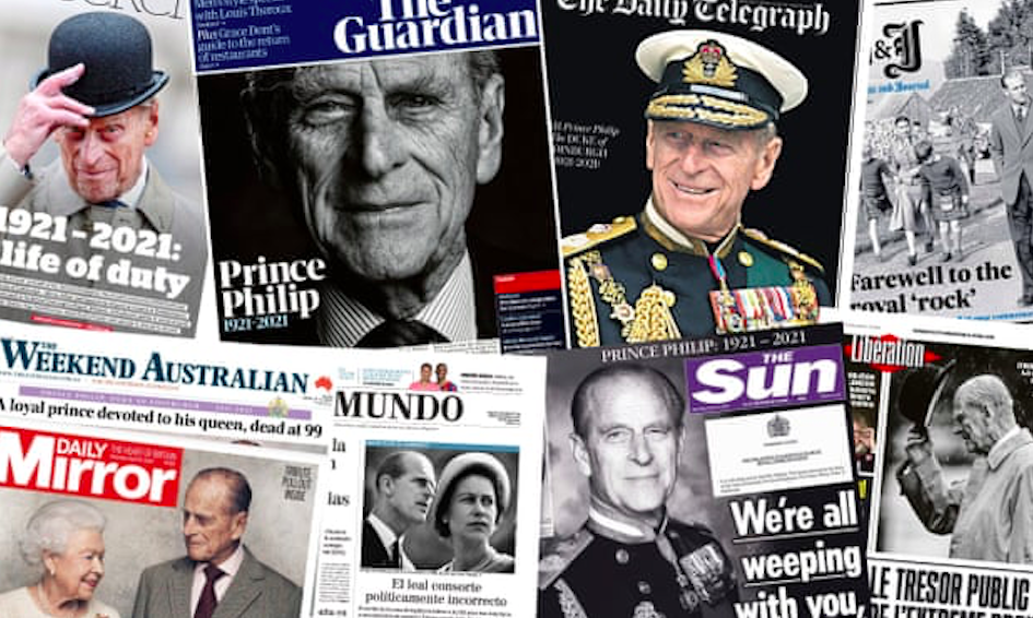 Front pages from around the world report on the death of Prince Philip. Composite - Various, Credit to The Guardian