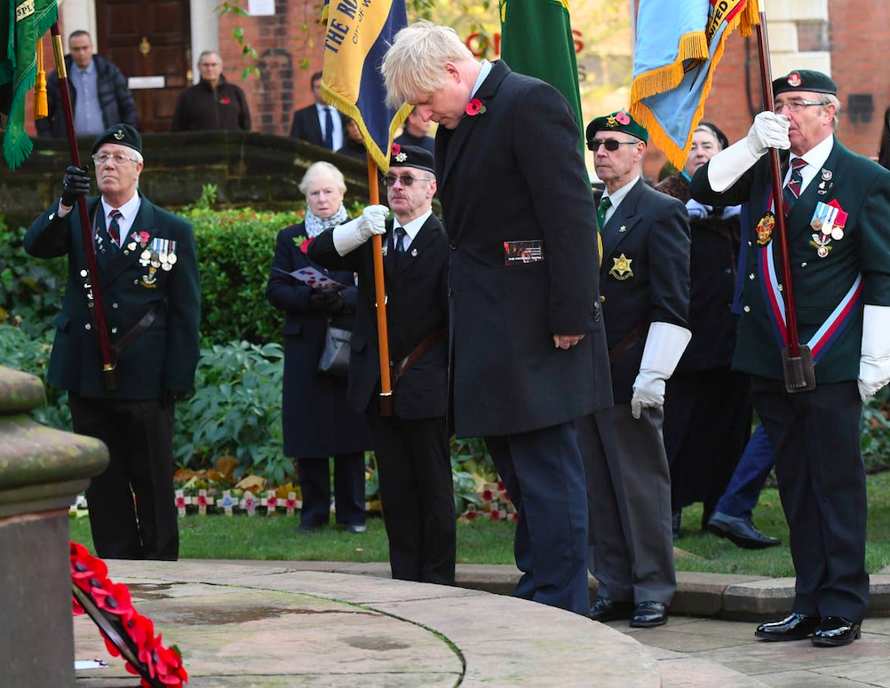 PM Boris Johnson during two-minute silence on Armistice Day 2019. Credit: The Standard