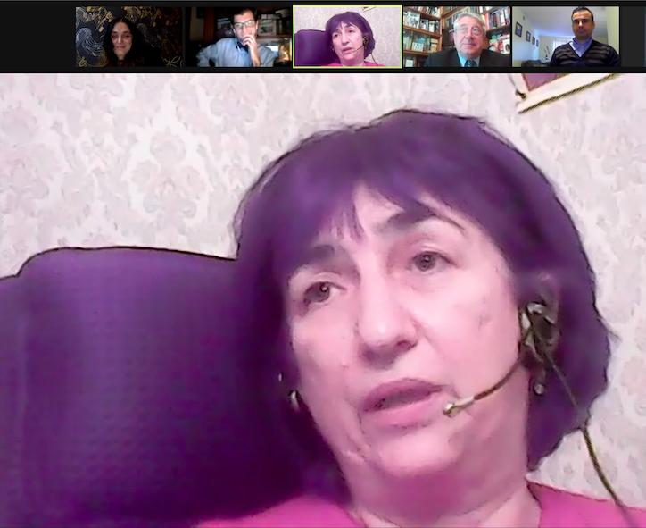 Prof Katie Rostiashvili with Prof Maia Nadareishvili, George Labadze, herself, Prof Vasil Kacharava, Prof Vasil Rukhadze during the panel (L-R). Credit to BRAMS (MN)