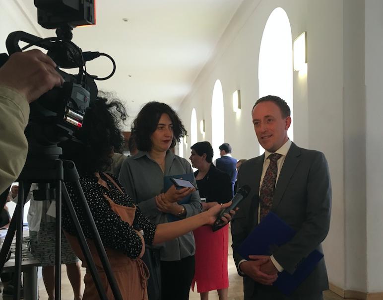 Acting Deputy Chief of Mission Jeffrey K. Reneau interviewed by Georgian journalists. Credit: BRAMS/Maia Nadareishvili