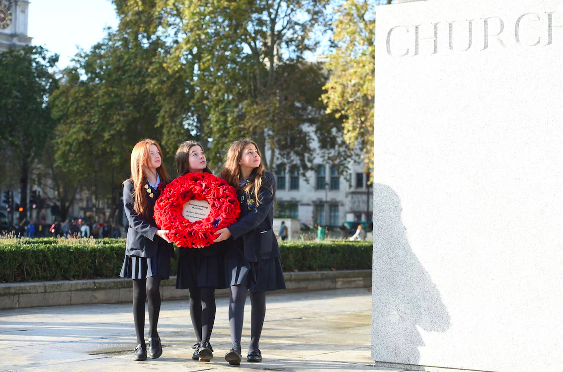 Emily, Ruby, and Madison from St Albans Girls School in Parliament Square today. Credit: Jeremy Selwyn/The Standard