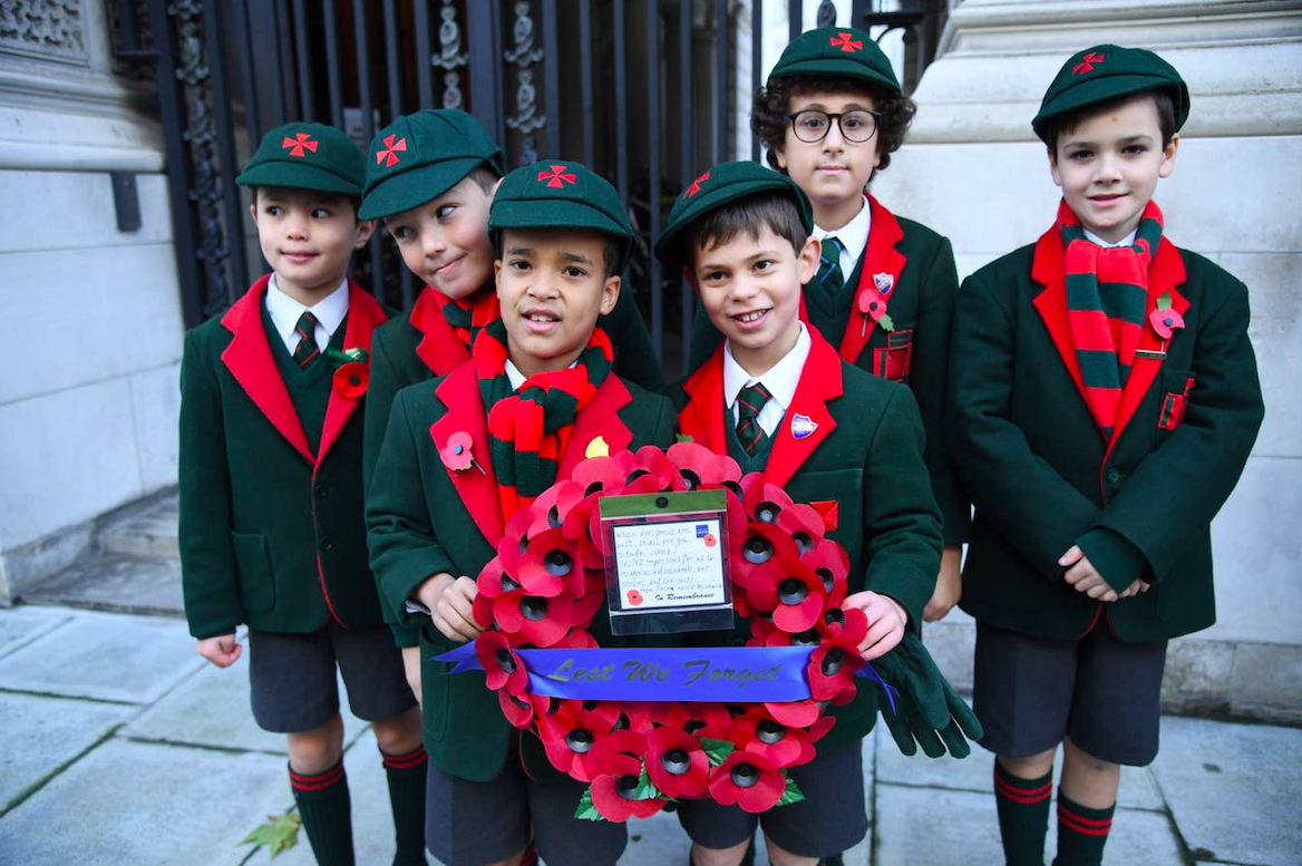 Eaton House School kids from Belgravia on Remembrance Day 2019. Credit: Jeremy Selwyn/The Standard