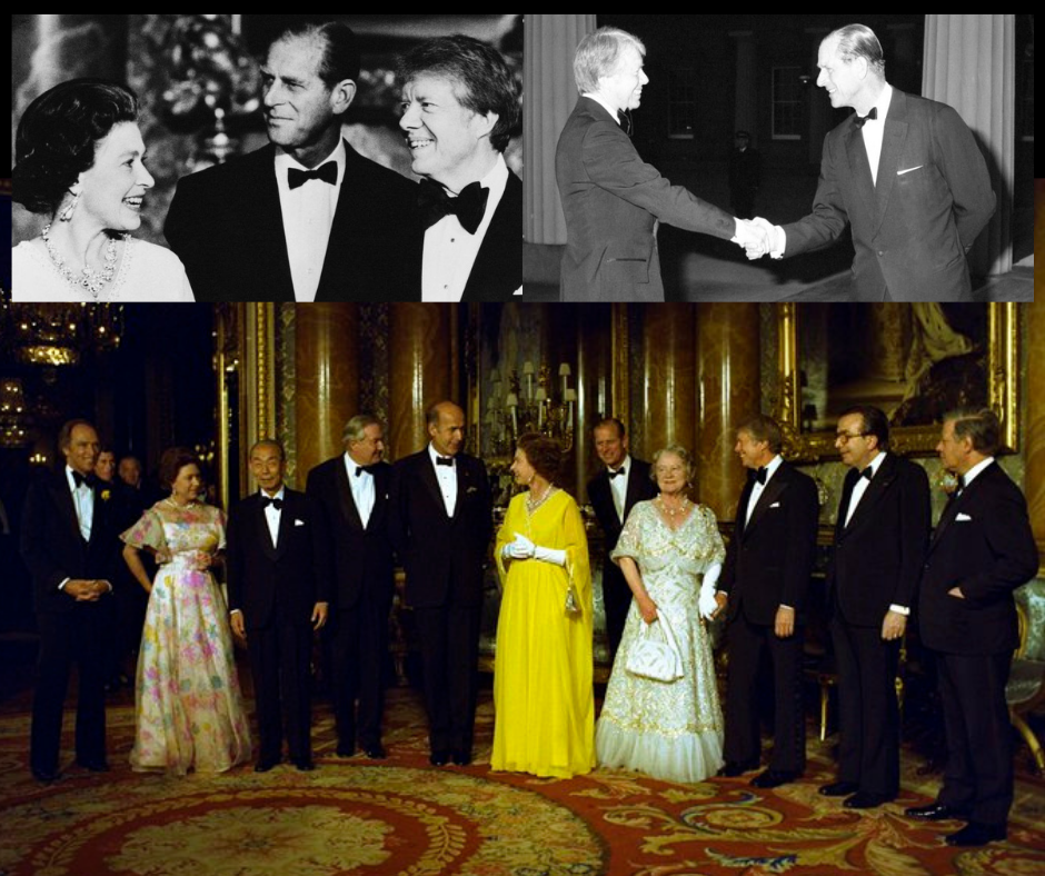 Prince Philip and Queen Elizabeth II with President Jimmy Carter in 1977. Credit to Jimmy Carter Presidential Library/Getty Images/PA/BRAMS