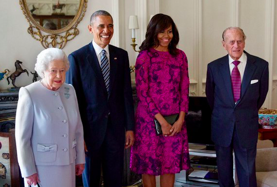 Barack and Michelle Obama with Queen Elizabeth II and Prince Philip at Buckingham Palace in 2016. Credit to Sky News