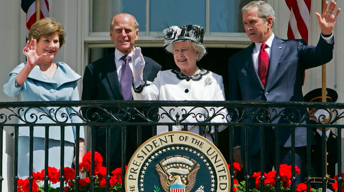George W Bushes and First Lady Laura with Prince Philip and Queen Elizabeth II. Credit to Sky News