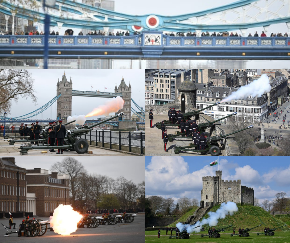 Hundreds of people lined Tower Bridge. A 41-round gun salute fired at the Tower of London, Edinburgh Castle, Woolwich Barracks in central London, and Cardiff Castle. Credit to Getty/PA/BBC/BRAMS